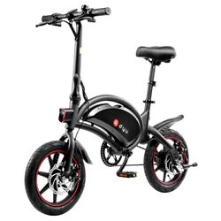 Dyu D3f With Pedal Folding Moped Electric Bike 14 Inch Inflatable Rubber Tires