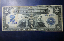 1899 2 Usa Dollar Silver Certificate United States Nice Circulated Banknote