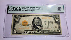 1928 50 Usa Dollars Gold Certificate United States Pmg 30 Vf Banknote