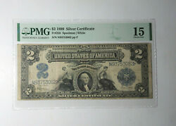 1899 2 Usa Dollar Silver Certificate United States Pmg 15 Ch. Fine Banknote