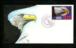 Us Fdc 2394 Weddle Hand Painted Hp H/p 1988 Rushville In Eagle Moon Unofficial