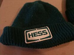 Vintage Service Station Attendant Hess Patch Gas Winter Knit Cap Beanie Green