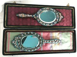 Pair Of Antique Micromosaic Mirrors With Display Jewelry Case, Micro Mosaic