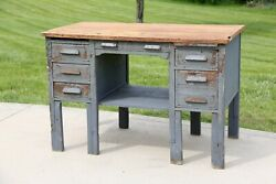 Antique Workbench Kitchen Island Desk Industrial Table Woodworking Store Counter