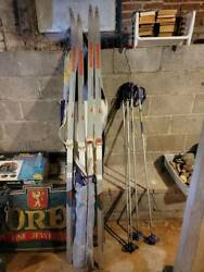 '80's Rossignol Racing Cross Country Skis 205 And 210 W/ Bindings, Poles And Bag New