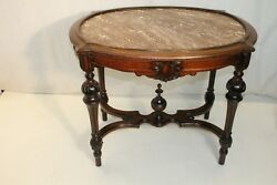 Victorian Walnut Carved Marble Top Parlor Center Table, 19th Century