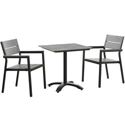 Modway Maine 3-piece Dining Set Outdoor Dining Table And Two Armchairs