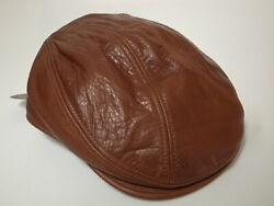 New York Hat Co Vintage Leather 1900 Hunting Cap Brandy S/m Made In Usa