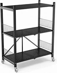 3tier Collapsible/foldable Heavy Duty Shelving Unit Steel Wire Rack Organizer Us