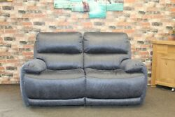 Locco Electric Reclining 2 Seater Sofa In Blue Saddle Fabric
