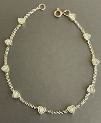 18ct Yellow Gold Diamond Bracelet 1ct Solitaire Heart Station By The Yard 8andrdquo