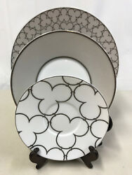 3 Piece Raynaud Limoges 'silver' Dinnerwear - Dinner, Salad And Bread Plate