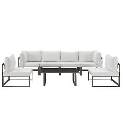 Modway Fortuna Aluminum 7-piece Outdoor Sectional Sofa Set Brown White