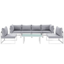 Modway Fortuna Aluminum 7-piece Outdoor Sectional Sofa Set White Gray