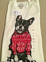 Holiday Christmas Boston Terrier Sweater from The Loft New XS