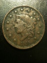 1836 Coronet Matron Large Cent Vf Very Fine One Penny Liberty Newcomb Variety F