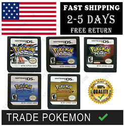 Ds Pokemon Soulsilver Pearl Heartgold Diamond Platinum Game Card Nds 3ds Xl