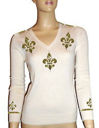 Luxe Oh` Dor 100 Cashmere Sweater V-neck White Champagne Gold Size 34 S