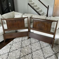 Vtg Mcm Wood Headboard Twin Size Pair Bed Mid Century Modern Cottage Lake House