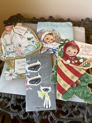 Vintage Ephemera 4 Babies First Cards Glitter Fuzzy Cats Christmas Easter