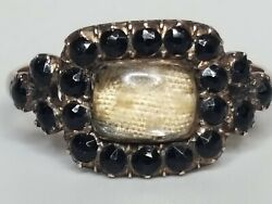 Antique Victorian 10k Yellow Gold Black Onyx Fiber Mourning Ring
