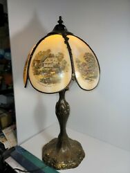 Currier And Ives Table Lamp With Slag Glass Lamp Shade