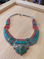 Antique American Indian Silver And Turquoise Jewelry Necklace 3