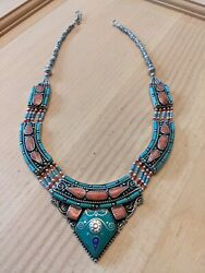 Antique American Indian Silver And Turquoise Jewelry Necklace 2