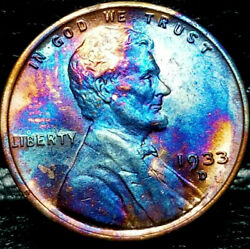 1933 D Lincoln Wheat Penny Cent- Beautiful Toning Superb Gem High Grade 02