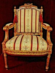 Louis Xv Chair Antique Custom New Fabric Gold Red Jeweled