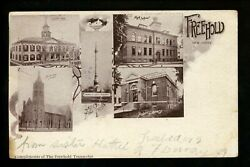 Freehold, New Jersey Nj Vintage Postcard Court House, Church, Library, School