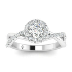 1ct D-si1 Diamond Crossover Engagement Ring 14k White Gold Any Size