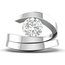 0.9ct D-si2 Diamond Round Engagement Ring 14k White Gold Any Size