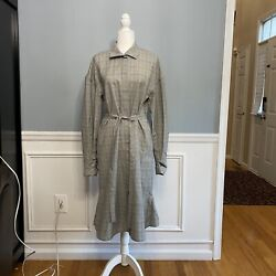 Mark Kenly Domino Tan Plaid Dress Romania Belted Size 36 Ditta