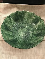 Large Green Leaf Salad Bowl Majolica Ceramiche Made In Italy 7882/28 11 Inch