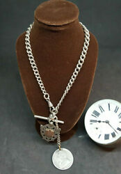 Beautiful Antique 1900and039s Solid Silver Pocket Watch Chain And Fobs 58 G.