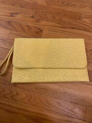 Yellow Clutch Purse faux leather Fold Over Bag $5.99