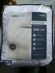 Therapedic Cotton Mattress Pad 300 Thread Ct. Cooling Queen White Brand New