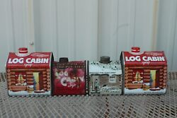 Vintage 1980and039s Set Of 4 Log Cabin Syrup Tins Empty