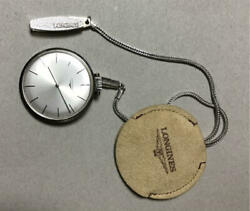 Longines Pocket Watch Vintage W/chain And Box Used Excellent