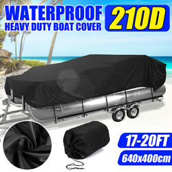 17and039-20and039 Heavy Duty 210d Boat Cover Trailer Fish Ski Beam 96and039and039 Pontoon Waterproof