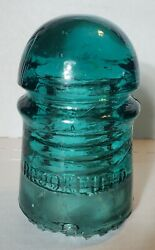 Glass Insulator Aqua With Amber Brookfield Cd 102 With Sharp Drip Points