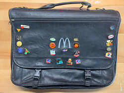 """Vintage Mcdonalds Manager """"leather"""" Briefcase Carrying Attache Case Bag Pins"""