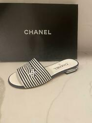 20c Striped Leather Cc Flat Slide Mule Sandals Shoes Navy White 1025