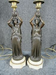 ANTIQUE PAIR OF 19THc. FRENCH BRONZE FIGURAL WOMAN CANDLESTICK LAMPS