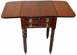 Great 19th C. American Walnut Drop Leaf Side End Pembroke Table With Two Drawers