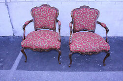 Fabulous Antique Pair Of Country French Walnut Bergere Chairs, New Upholstery