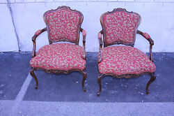 Fabulous Antique Pair Of Country French Walnut Bergere Chairs New Upholstery