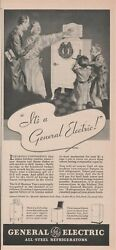 Antique 1930's Kitchen Appliance - General Electric Refrigerator - 1934 Print Ad