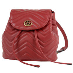 Gg Marmont Backpack Backpack Daypack Backpack Leather Red 528129 Women
